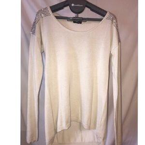 Express Tan & Studded Shoulder Sweater